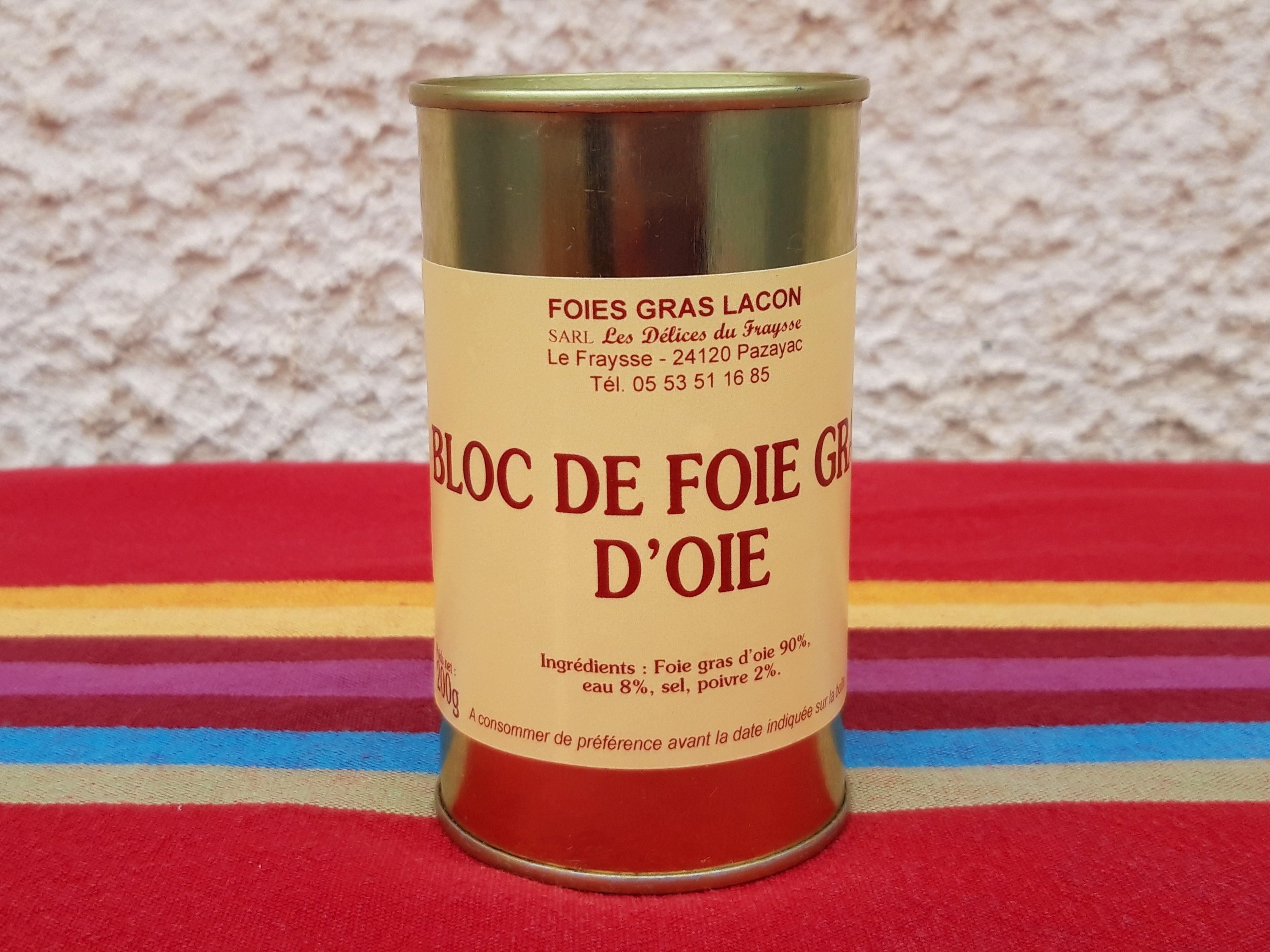 Bloc de foie gras d'oie 200g