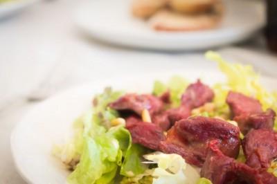 Salade de gésiers au vinaigre de framboise